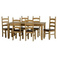 Seconique Corona Extending Dining Set- Waxed Pine Dining Table and 6 Brown Faux Leather & Pine Chairs