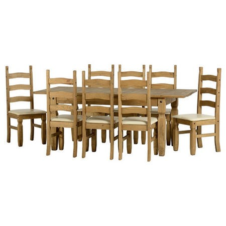 Seconique Corona Extending Dining Table + 8 Dining Chairs
