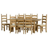 Seconique Corona Extending Dining Set - Pine Dining Table & 8 Cream Faux Leather Dining Chairs
