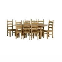 Seconique Corona Extending Dining Set - Waxed Pine Dining Table & 8 Pine Dining Chairs