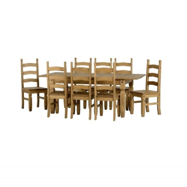 Extendable Dining Table & 8 Chairs in Pine - Corona