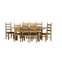 Seconique Corona Extending Dining Set - Waxed Pine Dining Table with 8 Brown PU & Pine Chairs