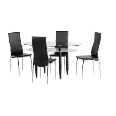 Seconique Berkley Dining Set - Clear Glass/Frosted Glass/Black/Black PVC/Chrome