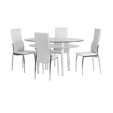 Seconique Berkley Dining Set - Clear Glass/Frosted Glass/White/White PVC/Chrome