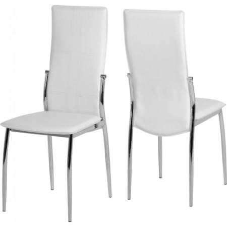 Seconique Berkley Glass Dining Set with 4 White PU Chairs