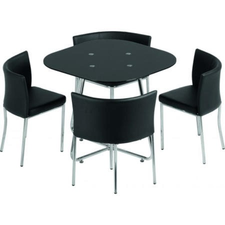 Seconique Washington Stowaway Dining Set in Black Glass + 4 Chairs