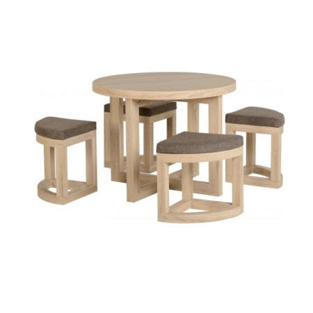 Seconique Oak Dining Set + 4 Stowaway Chairs with Brown Linen Seats