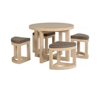 Seconique Cambourne Stowaway Dining Set - Sonoma Oak Effect Veneer/Brown Linen Fleck