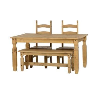 Seconique Corona 5' Dining Set With 4' Bench And 2 Chairs - Distressed Waxed Pine