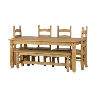 Seconique Corona 6' Dining Set With 5' Bench And 4 Chairs - Distressed Waxed Pine