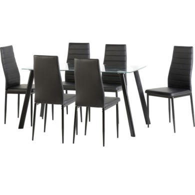 Seconique Abbey 6 Seater Dining Table Set With Black Faux Leather Chairs