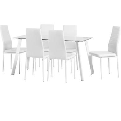 Seconique Abbey Glass Dining Table Set With Six White Faux Leather Chairs