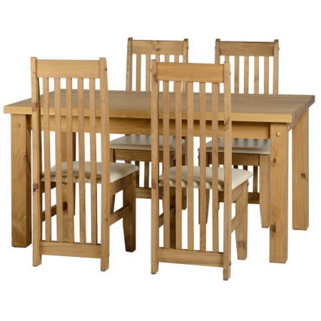 Seconique Tortilla Pine Dining Set + 4 Pine Chairs with Cream Seats