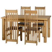 Seconique Tortilla Dining Set with 4 Brown Dining Chairs