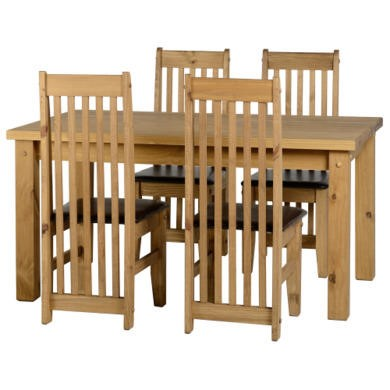 Seconique tortilla dining set with 4 brown dining chairs for Furniture 123