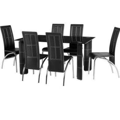 Seconique Bradford Glass Dining Table Set With 6 Black Faux Leather Chairs