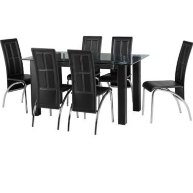 Seconique Stanton Glass Dining Table Set With 6 Black Faux Leather Chairs