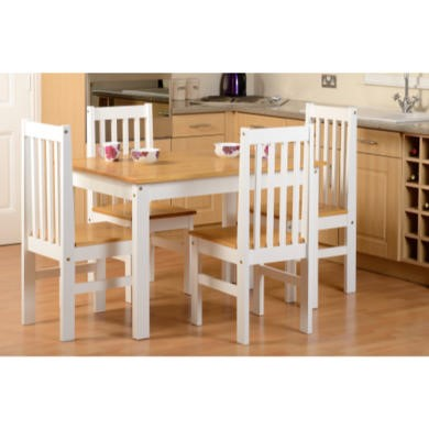Seconique Ludlow Dining Set in Oak/White