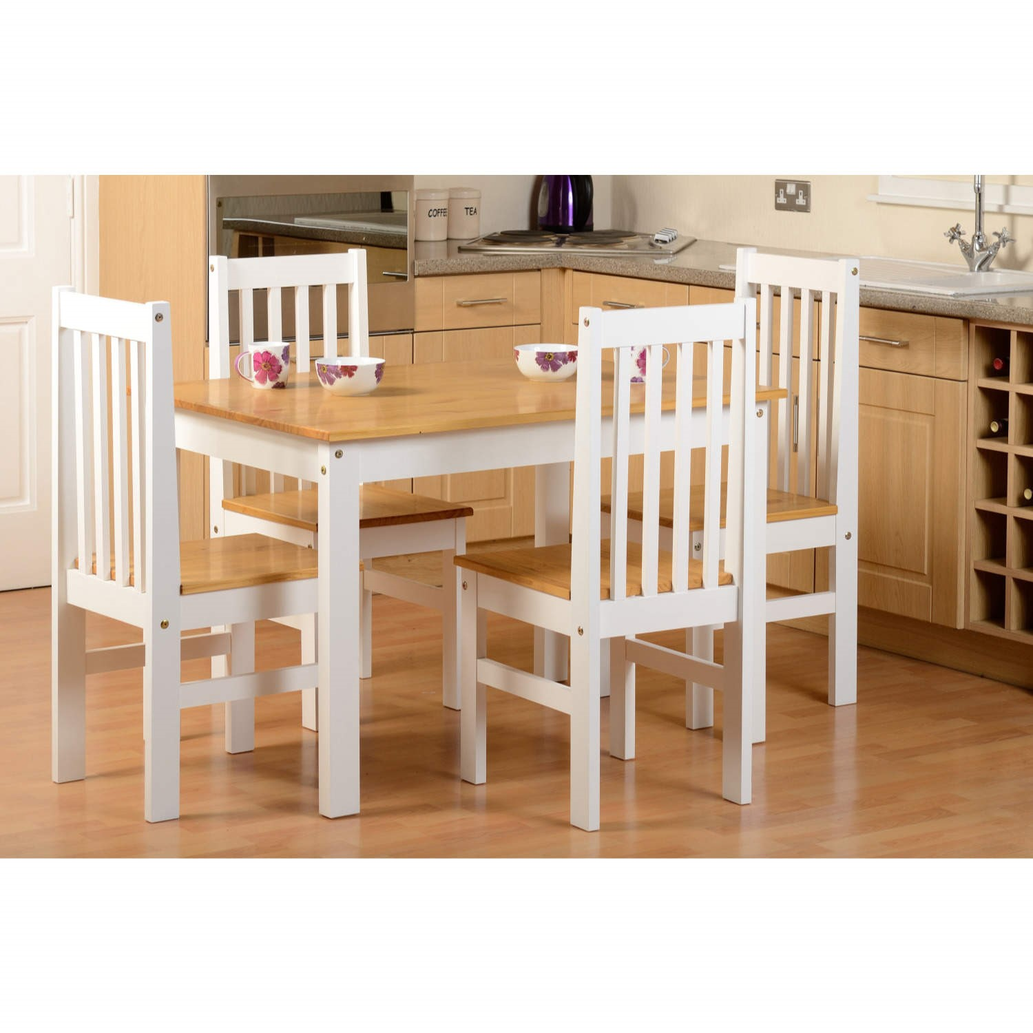 Seconique Ludlow Dining Set In Oak U0026amp; White U0026amp; 4 Matching Dining  Chairs