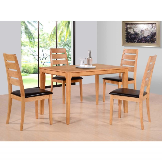 Richmond Oak Dining Set & 4 Brown Faux Leather Dining Chairs