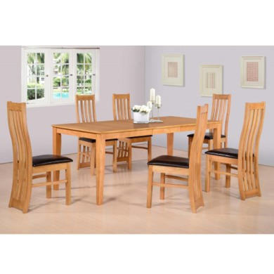Seconique Ainsley Extending Dining Set in Oak Effect