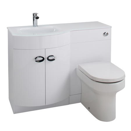 Curved White Left Hand Bathroom Vanity Unit & Glass Basin - Without Toilet