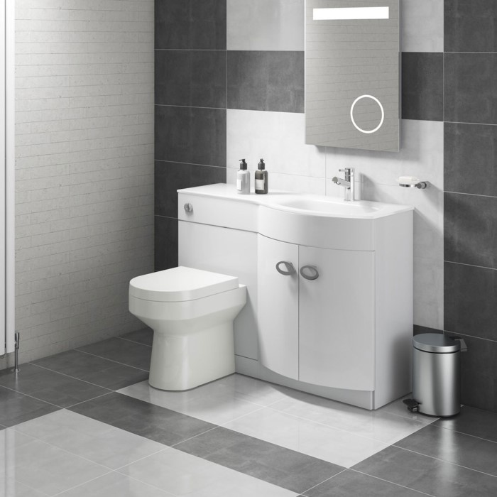 Curved White Right Hand Bathroom Vanity Unit Amp Glass Basin