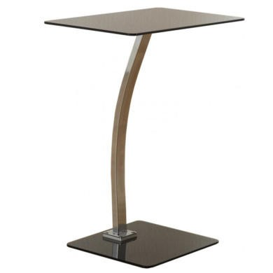 Seconique Laptop Table in Black Glass and Chrome
