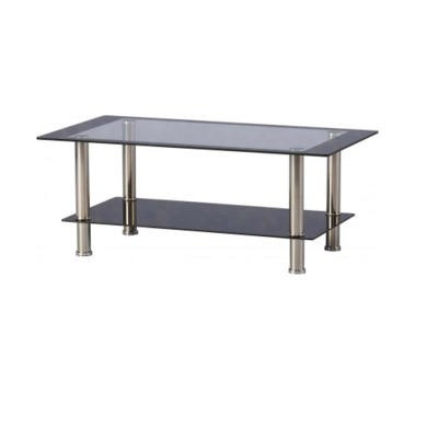 Seconique Harlequin Coffee Table - Clear Glass/Black Border/Black Glass/Silver