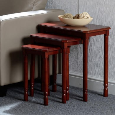 Seconique Brunton Nest Of Tables In Mahogany