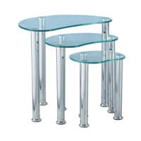 Seconique Cara Nest of Tables - Clear Glass/Silver