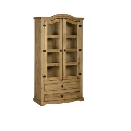 Seconique Corona 2 Door 2 Drawer Glass Display Unit - Pine and Glass