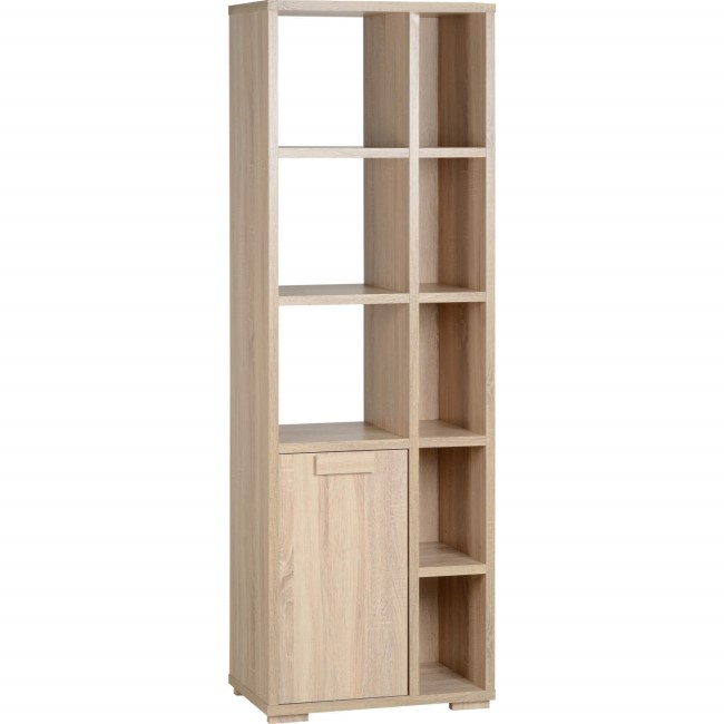 Oak Shelving Unit with Open and Closed Storage - Seconique Cambourne