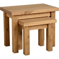 Seconique Tortilla Nest of Tables in Distressed Wax Pine