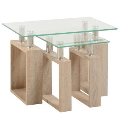 Seconique Milan Nest of Tables in Sonoma Oak Effect and Glass