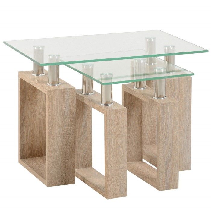 Seconique Milan Nest Of Tables In Sonoma Oak Effect And