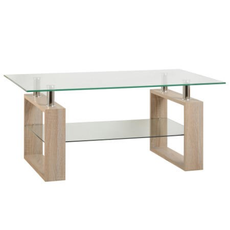 Glass Coffee Table with Pale Oak Base - Seconique Milan