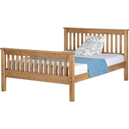 Seconique Monaco Double Bed Frame in Distressed Waxed Pine