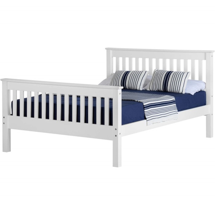 Seconique Monaco White Double Bed Frame With High Foot End