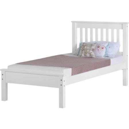Seconique Monaco Single Bed Frame in White with Low Foot End