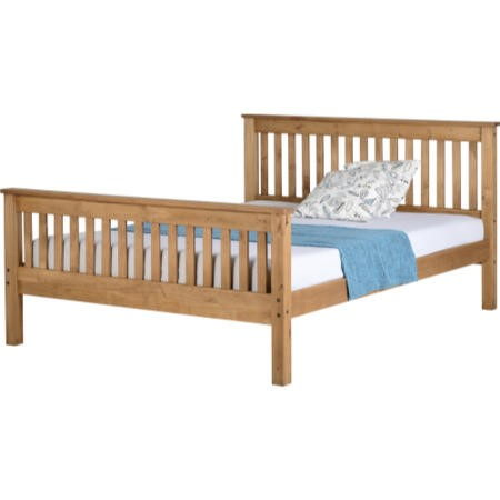 Seconique Monaco King Size Bed Frame in Distressed Waxed Pine