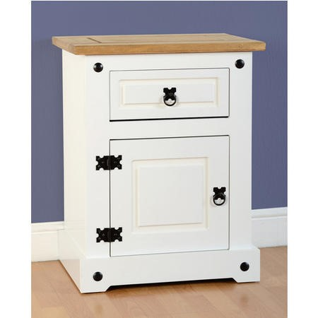 Seconique Corona White Bedside Cabinet with 1 Drawer and Door