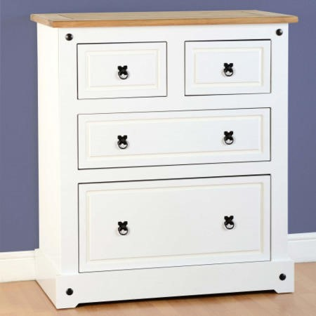 Seconique Corona White 2+2 Drawer Chest of Drawers