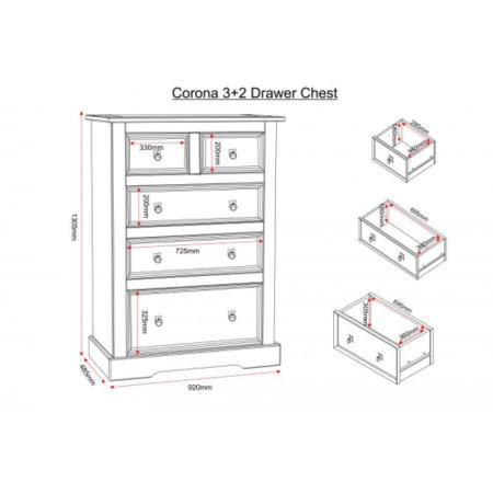 Seconique Corona 3+2 Drawer Chest - Distressed Waxed Pine
