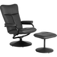 Seconique Kansas Recliner With Footstool in Black