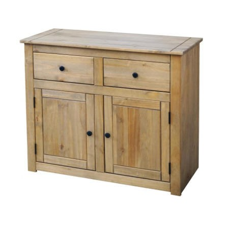 Seconique Panama Solid Pine Sideboard with 2 Doors & 2 Drawers with Natural Wax Finish