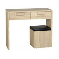 GRADE A2 - Seconique Cambourne 2 Drawer Dressing Table Set - Sonoma Oak Effect Veneer/Black PVC