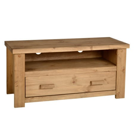 Seconique Tortilla 1 Drawer Flat Screen TV Unit in Waxed Pine - TV's up to 42""