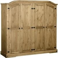 Seconique Corona 4 Door Wardrobe - Distressed Waxed Pine