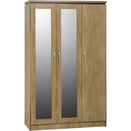 Seconique charles 3 door all hanging wardrobe in oak for Furniture 123 wardrobes